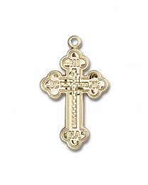 14kt Gold Filled Russian Cross Pendant with Gold Filled Lite Curb Chain