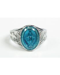 Sterling Silver Miraculous Medal Mens Ring w/ Blue Epoxy  - Size 8
