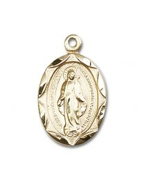 14kt Gold Filled Miraculous Pendant with Gold Filled Lite Curb Chain