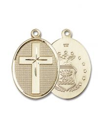 14kt Gold Filled Cross / Air Force Pendant with Gold Plate Heavy Curb Chain