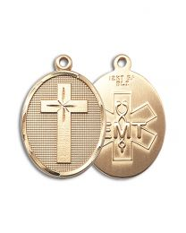 14kt Gold Filled Cross / Emt Pendant with Gold Plate Heavy Curb Chain