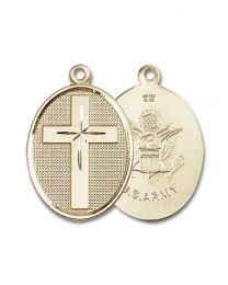 14kt Gold Filled Cross / Army Pendant with Gold Plate Heavy Curb Chain