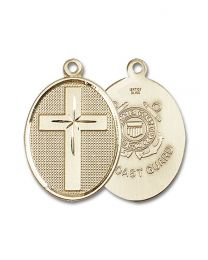 14kt Gold Filled Cross / Coast Guard Pendant with Gold Plate Heavy Curb Chain