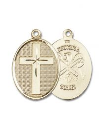 14kt Gold Filled Cross / National Guard Pendant with Gold Plate Heavy Curb Chain