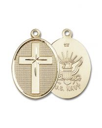 14kt Gold Filled Cross / Navy Pendant with Gold Plate Heavy Curb Chain