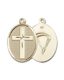 14kt Gold Filled Cross / Paratrooper Pendant with Gold Plate Heavy Curb Chain