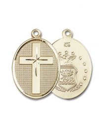 14kt Gold Cross / Air Force Medal