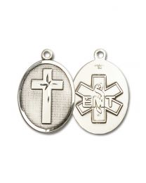 Sterling Silver Cross / Emt Pendant with Light Rhodium Heavy Curb Chain