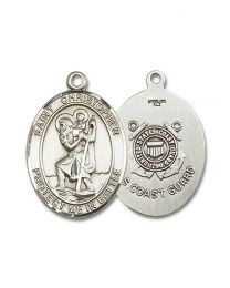 Sterling Silver St. Christopher Pendant with Light Rhodium Heavy Curb Chain