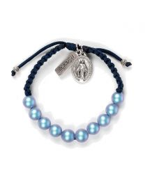 Radiant Pearl Bracelet - Silver-Tone / Light Blue Pearls / Navy