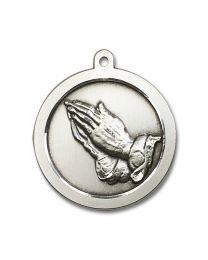Sterling Silver Praying Hand Pendant with Light Rhodium Heavy Curb Chain