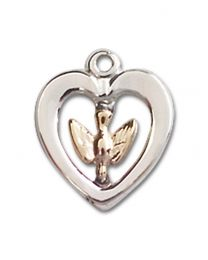 Two-Tone Gold-Filled/Sterling Silver Holy Spirit Pendant with Sterling Silver Lite Curb Chain