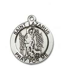 Sterling Silver St. Lazarus Pendant with Sterling Silver Lite Curb Chain