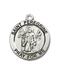 Sterling Silver St. Peregrine Pendant with Sterling Silver Lite Curb Chain
