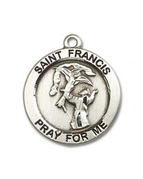 Sterling Silver St. Francis Pendant with Silver Plate Lite Curb Chain