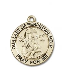 14kt Gold Filled Our Lady of Perpetual Help Pendant with Gold-Filled Lite Curb Chain