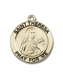14kt Gold Filled St. Theresa Pendant with Gold-Filled Lite Curb Chain