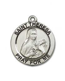 Sterling Silver St. Theresa Pendant with Sterling Silver Lite Curb Chain