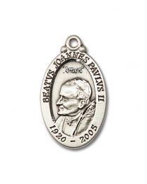 Sterling Silver St. John Paul II Pendant with Light Rhodium Heavy Curb Chain
