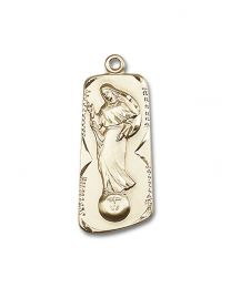 14kt Gold Filled Our Lady of Mental Peace Pendant with Gold Plate Heavy Curb Chain