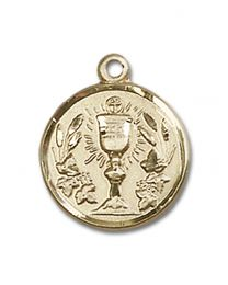 14kt Gold Filled Communion Chalice Pendant with Gold Filled Lite Curb Chain