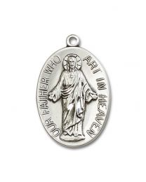 Sterling Silver Our Father Pendant with Light Rhodium Heavy Curb Chain