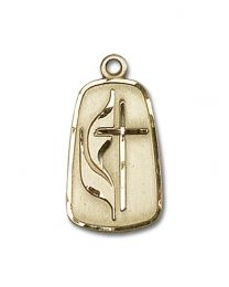 14kt Gold Filled Methodist Pendant with Gold Filled Lite Curb Chain