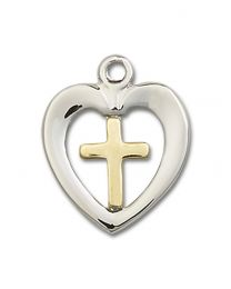 Two-Tone Gold-Filled/Sterling Silver Heart / Chalice Pendant with Sterling Silver Lite Curb Chain