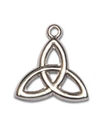 Sterling Silver Trinity Irish Knot Pendant with 18 inch Sterling Silver Curb Chain