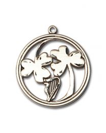 Sterling Silver IRISH SHAMROCK / HARP Pendant with Light Rhodium Heavy Curb Chain