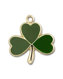 14kt Gold Filled Shamrock Pendant with Gold Filled Lite Curb Chain