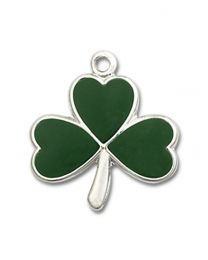 Sterling Silver Shamrock Pendant with Sterling Silver Lite Curb Chain