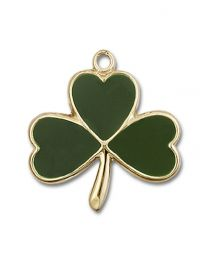 14kt Gold Filled Shamrock Pendant with Gold Plate Heavy Curb Chain