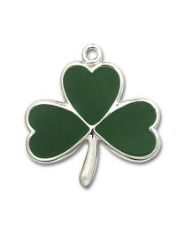 Sterling Silver Shamrock Pendant with Light Rhodium Heavy Curb Chain