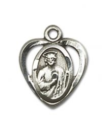 Sterling Silver St. Jude Pendant with Sterling Silver Lite Curb Chain