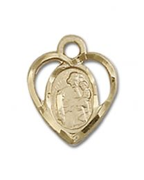 14kt Gold Filled St. Joseph Pendant with Gold Filled Lite Curb Chain