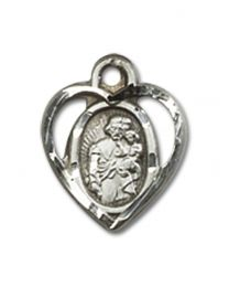 Sterling Silver St. Joseph Pendant with Sterling Silver Lite Curb Chain
