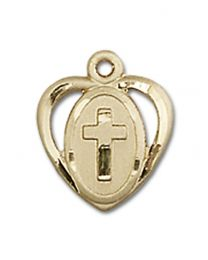 14kt Gold Heart / Cross Medal