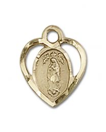 14kt Gold Filled Our Lady of Guadalupe Pendant with 18 inch Gold Filled Curb Chain