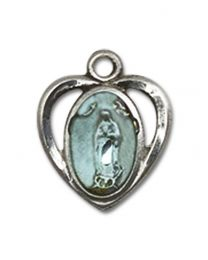 Sterling Silver Our Lady of Guadalupe Pendant with Sterling Silver Lite Curb Chain