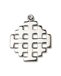 Bonyak Jewelry Sterling Silver Cross Pendant 1 3//8 x 3//4 inches with Heavy Curb Chain