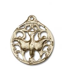 14kt Gold Filled Holy Spirit Pendant with Gold Filled Lite Curb Chain