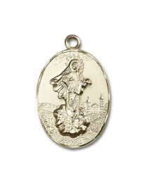 14kt Gold Filled Our Lady of Medugorje Pendant with Gold Plate Heavy Curb Chain