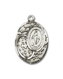 Sterling Silver Miraculous Pendant with 18 inch Sterling Silver Curb Chain