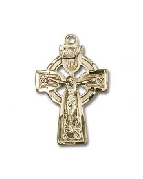 14kt Gold Filled Celtic Crucifix Pendant with Gold Filled Lite Curb Chain