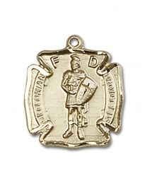 14kt Gold Filled St. Florian Pendant with Gold Filled Lite Curb Chain