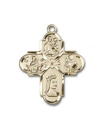 14kt Gold Filled Franciscan 4-Way Pendant with Gold Plate Heavy Curb Chain