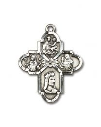 Sterling Silver Franciscan 4-Way Pendant with Light Rhodium Heavy Curb Chain