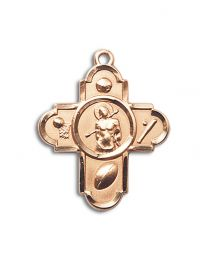 14kt Gold Filled 5-WAY/ST. SEBASTIAN Pendant with Gold Plate Heavy Curb Chain