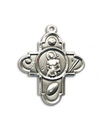 Sterling Silver 5-WAY/ST. SEBASTIAN Pendant with Light Rhodium Heavy Curb Chain